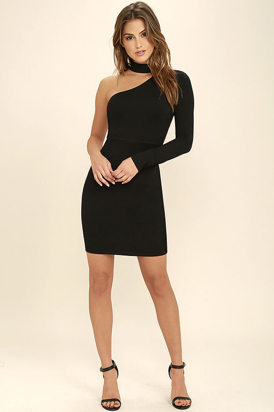 All I Half Black One Shoulder Dress 2