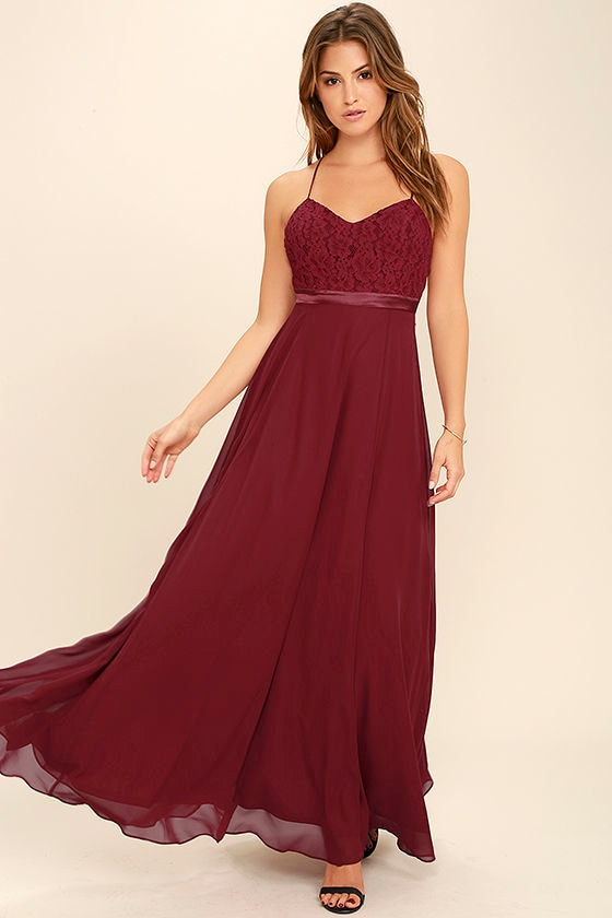 389d73d5367 Stealing Kisses Wine Red Lace Maxi Dress