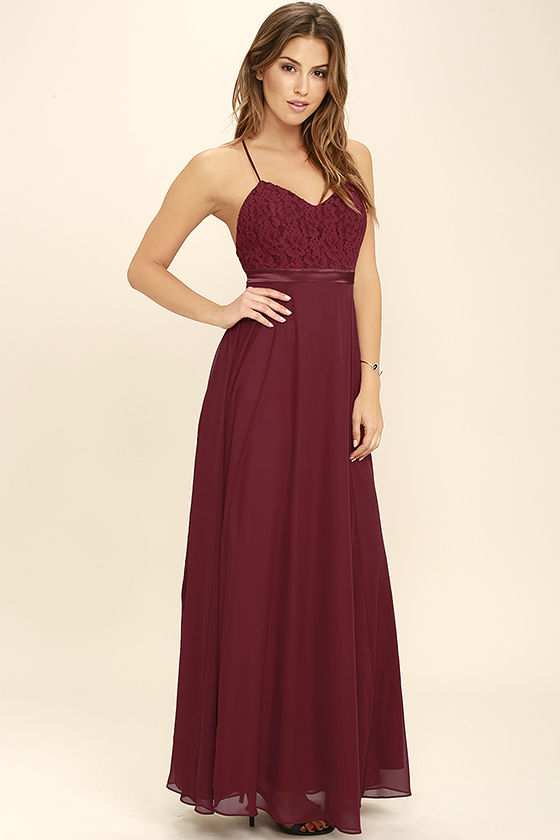 551dcb4e94c Lovely Wine Red Dress - Lace Dress - Maxi Dress -  112.00