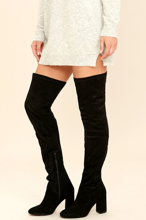 Seychelles Chrysalis Black Suede Leather Thigh High Boots 1
