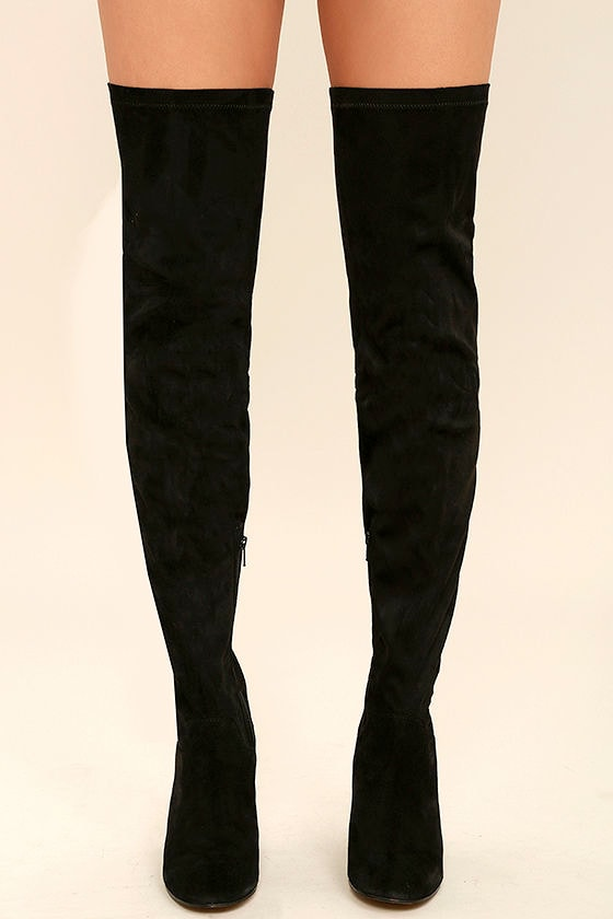 9b173742e0 Seychelles Chrysalis Boots - Black Suede Leather Boots - Thigh High ...