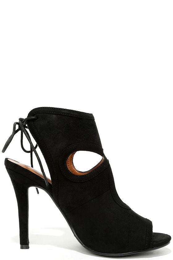 Cute Black Heels - Peep-Toe Heels - Lace-Up Heels - $26.00