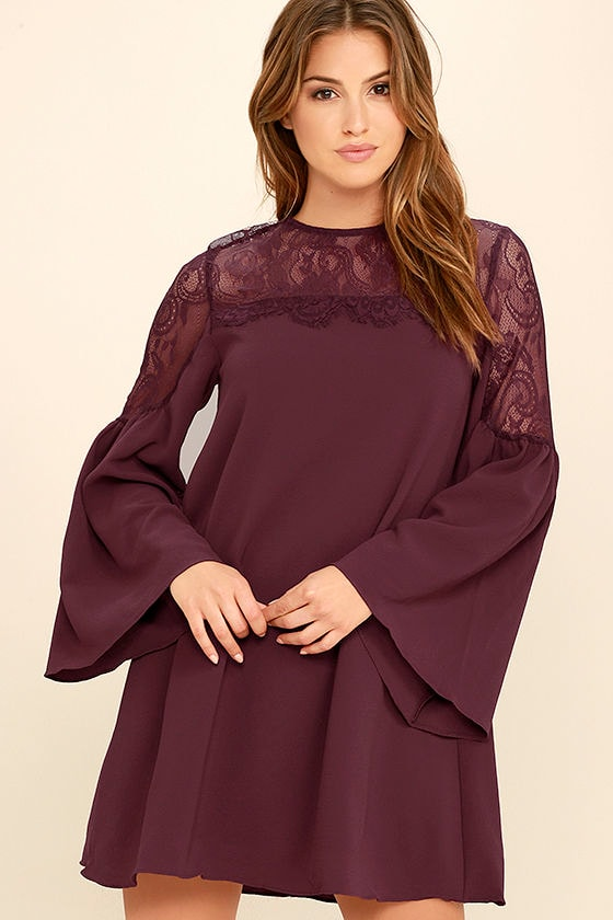 1b42993147ae Chic Burgundy Lace Dress - Long Sleeve Dress - Bell Sleeve Dress -  58.00