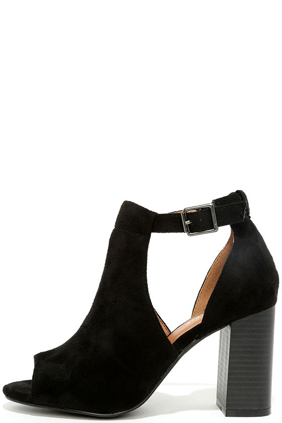 Sharri Black Suede Peep-Toe Booties 1