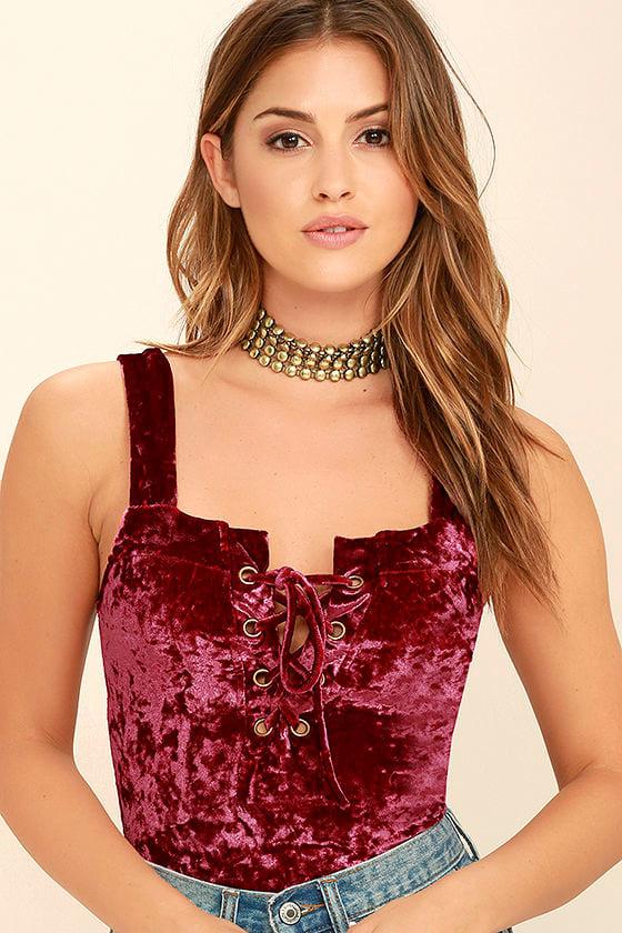 Sexy Burgundy Bodysuit - Velvet Bodysuit - Lace-Up Bodysuit -  42.00 4b51103d1