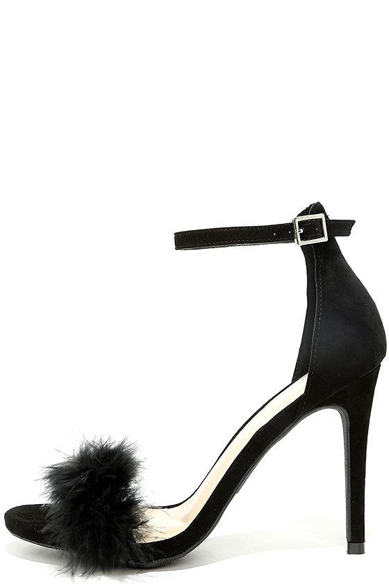 Valentina Black Feather Ankle Strap Heels 1