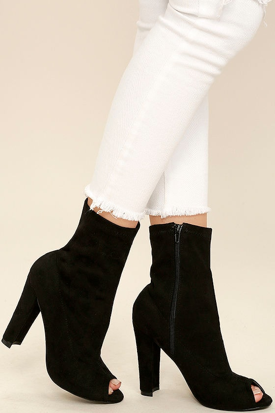 929ca61af Sexy Black Booties - Sock Boots - Peep-Toe Booties -  38.00