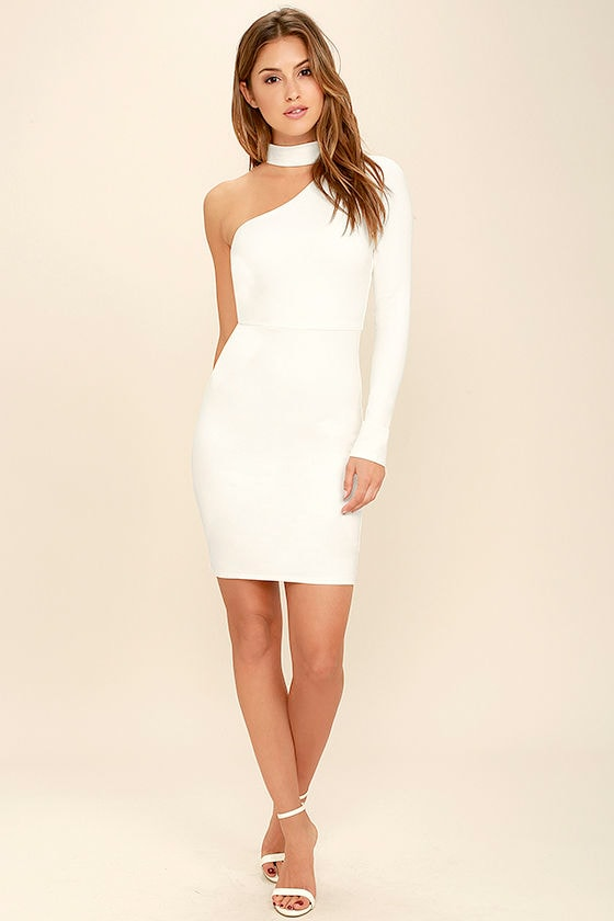 Sexy White One Shoulder Dress - Long Sleeve Dress - White Bodycon ...