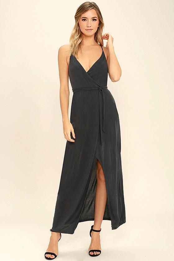 Lovely Charcoal Grey Dress Wrap Dress High Low Dress