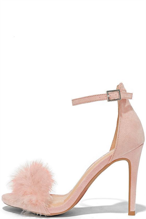 Feather Heels - Nude Heels - Ankle Strap Heels - $26.00