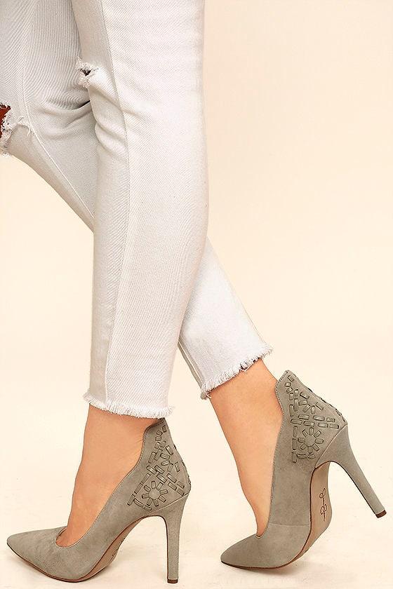 fb2ef99cf2c0 Jessica Simpson Crampell - Grey Suede Heels - Suede Pumps -  95.00