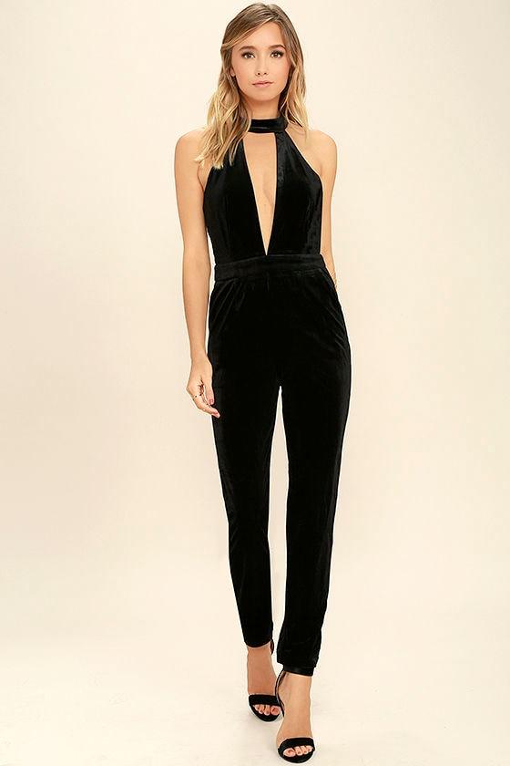 2a7e380030e Sexy Black Jumpsuit - Velvet Jumpsuit - Halter Jumpsuit -  52.00