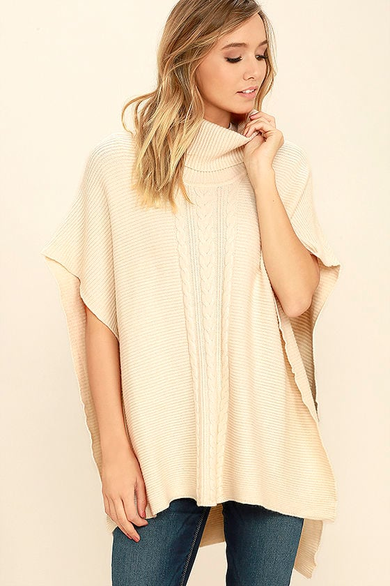 Chic Cream Poncho - Sweater Top - Cowl Neck Top - Poncho Top - $86.00