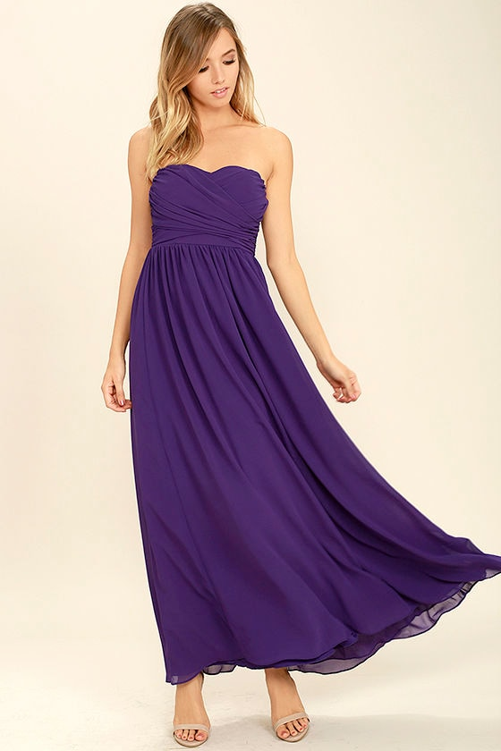Purple Maxi Dress - Strapless Dress - Bridesmaid Dress - Gown - $84.00