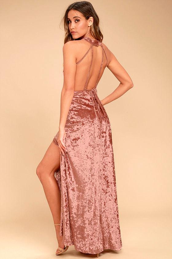 Sway My Options Rusty Rose Velvet Maxi Dress 3