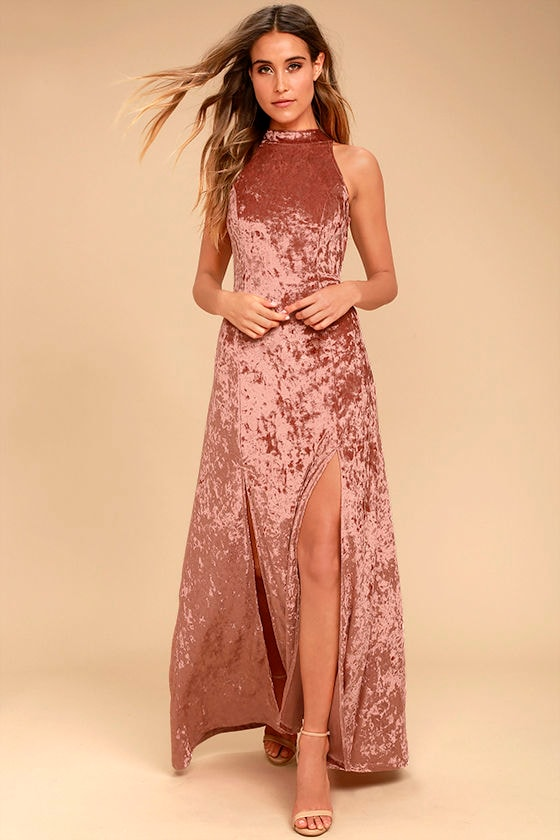 Sway My Options Rusty Rose Velvet Maxi Dress 1