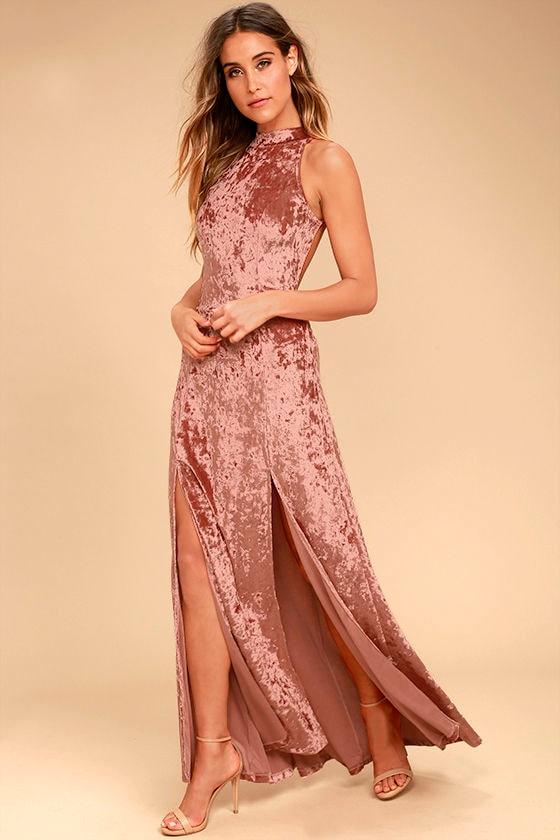Sway My Options Rusty Rose Velvet Maxi Dress 2