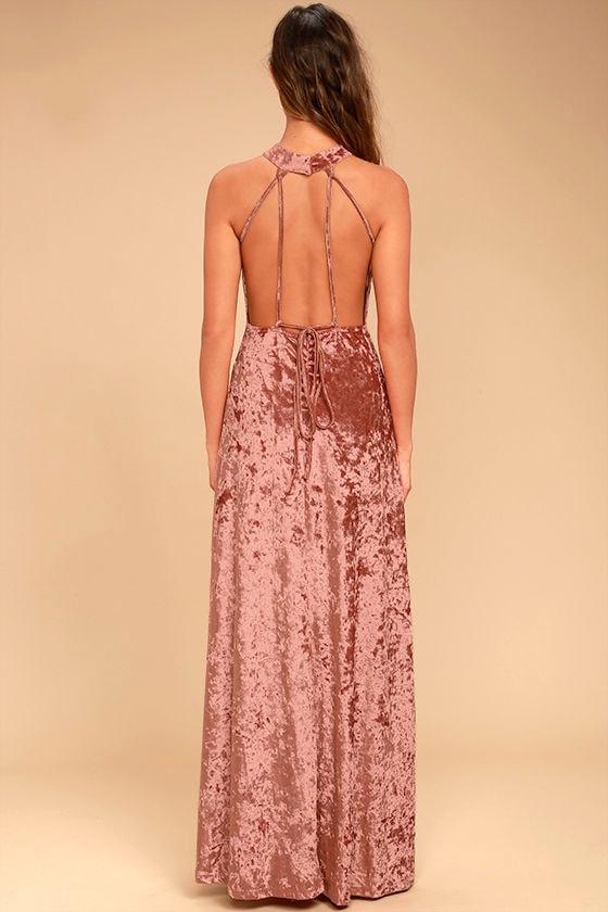 Sway My Options Rusty Rose Velvet Maxi Dress 4