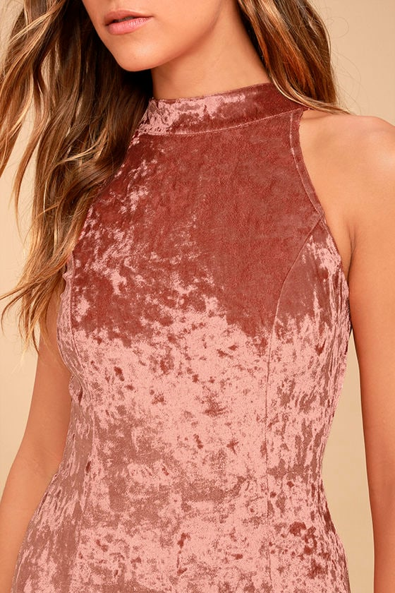 Sway My Options Rusty Rose Velvet Maxi Dress 5