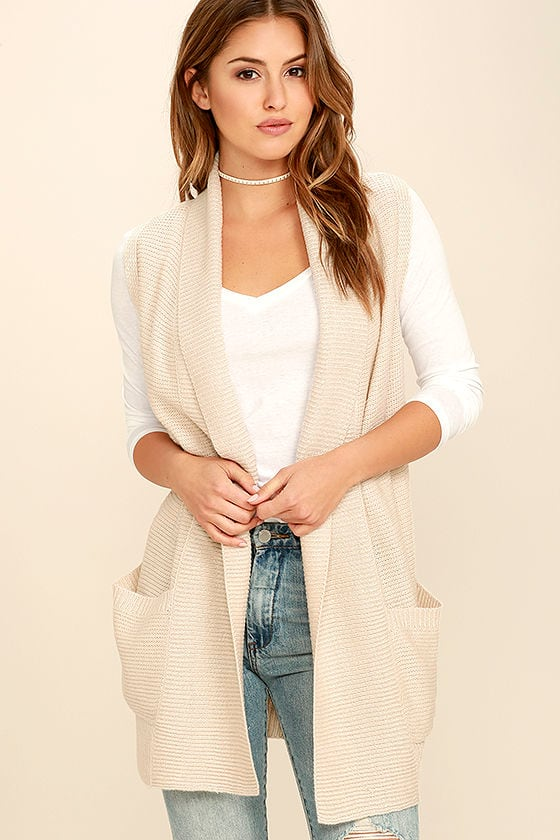 Chic Beige Sweater - Sleeveless Sweater - Cardigan Sweater - $78.00