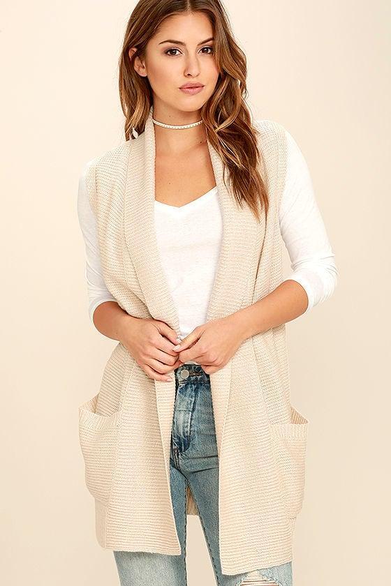 Free Knitting Pattern Ladies Sleeveless Cardigan : Chic Beige Sweater - Sleeveless Sweater - Cardigan Sweater - USD78.00