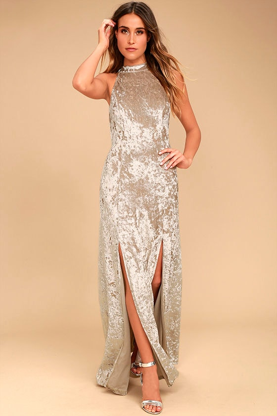 Sway My Options Taupe Velvet Maxi Dress 3