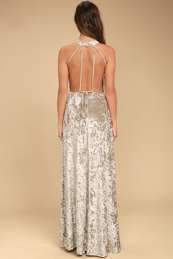 Sway My Options Taupe Velvet Maxi Dress 5