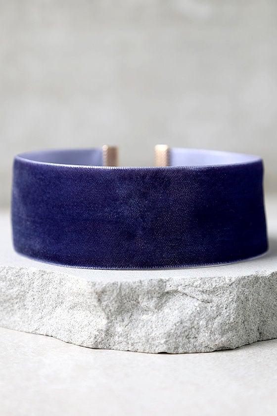 Cute Navy Blue Necklace Velvet Choker Blue Choker 10 00