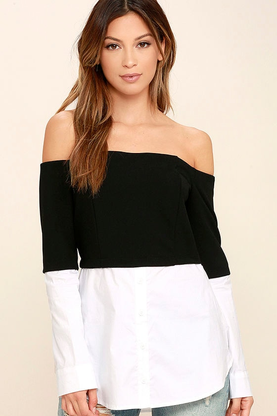 4f55eeea639 Chic Black and White Top - Off-the-Shoulder Top - Long Sleeve Top -  48.00