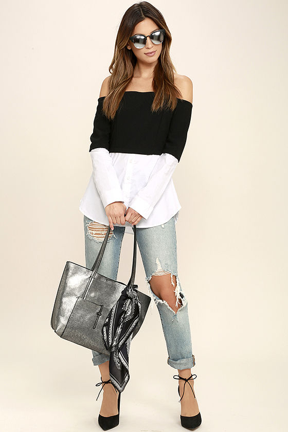 Profess Your Love Black and White Off-the-Shoulder Top 2