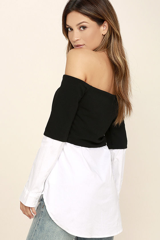 Profess Your Love Black and White Off-the-Shoulder Top 3