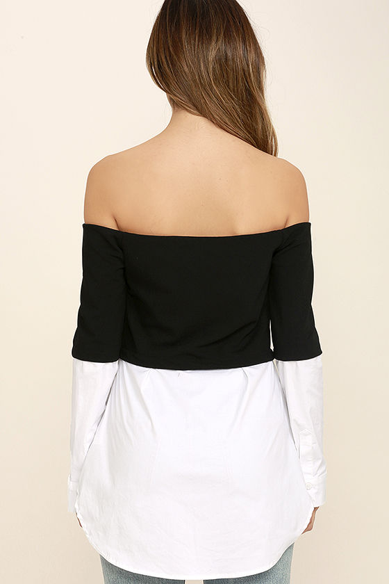 Profess Your Love Black and White Off-the-Shoulder Top 4