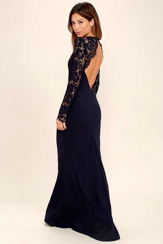 Lovely Navy Blue Dress - Lace Dress - Maxi Dress - Long Sleeve ...