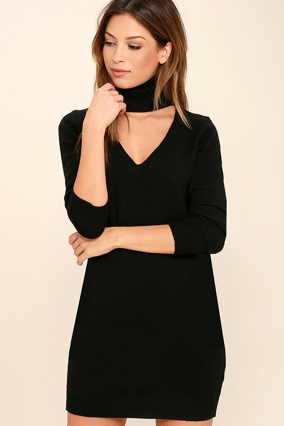 Chic Black Dress - Sweater Dress - Long Sleeve Dress - $46.00