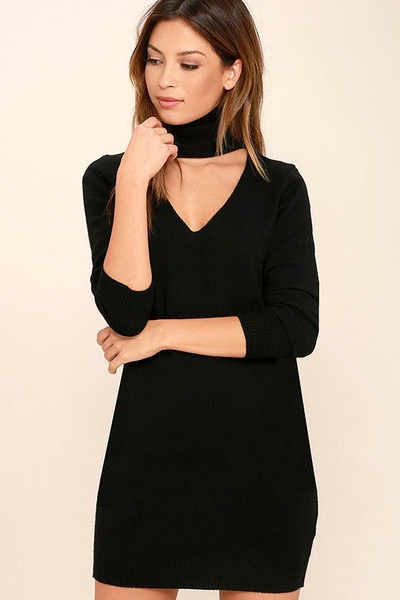 Chic Black Dress - Sweater Dress - Long Sleeve Dress - $46.00