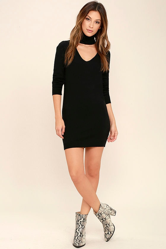 Sweetest Devotion Black Turtleneck Sweater Dress 2