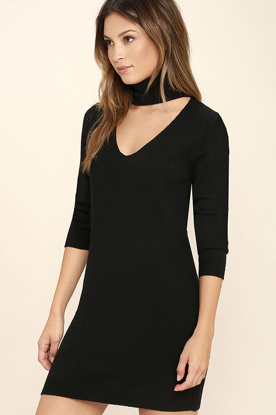 Sweetest Devotion Black Turtleneck Sweater Dress 3