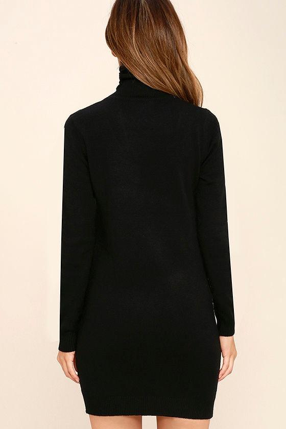 Sweetest Devotion Black Turtleneck Sweater Dress 4