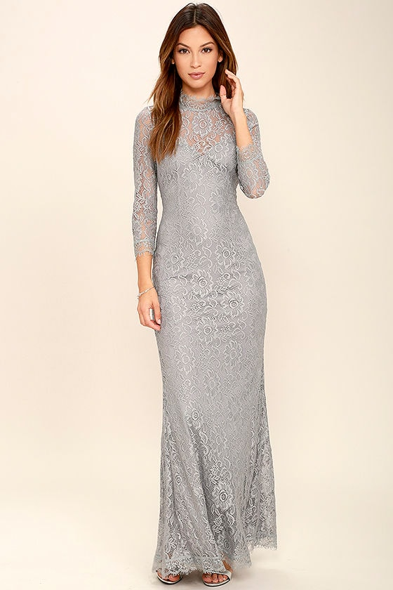 Stunning Lace Maxi Dress - Light Grey Lace Dress - Mermaid ...