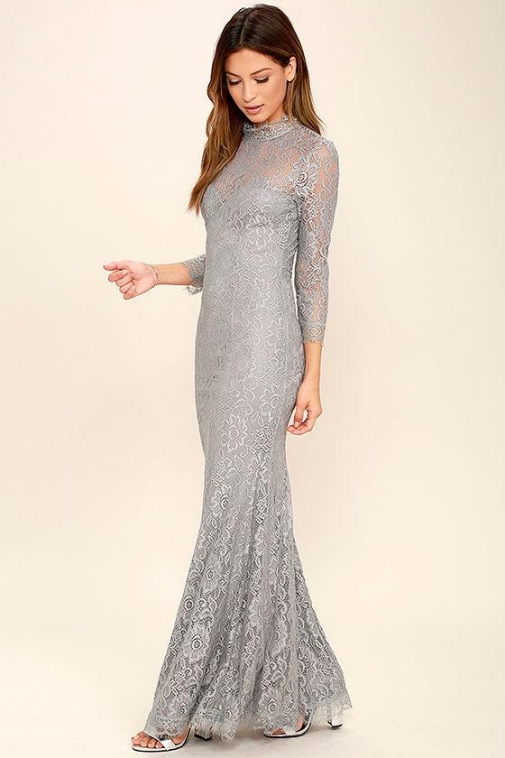38aa415d83aa Stunning Lace Maxi Dress - Light Grey Lace Dress - Mermaid Maxi ...