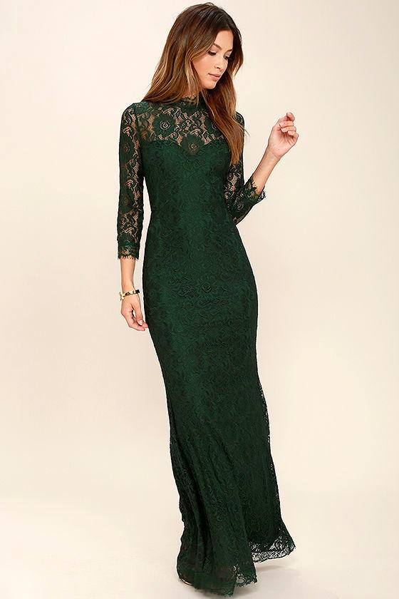 Stunning Lace Maxi Dress - Dark Green Lace Dress - Mermaid ...
