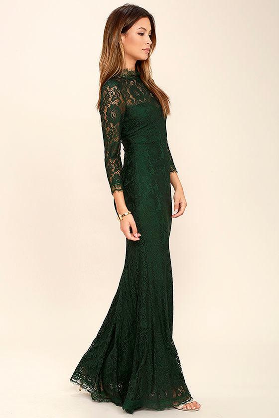 e1a6d350fb Stunning Lace Maxi Dress - Dark Green Lace Dress - Mermaid Maxi ...