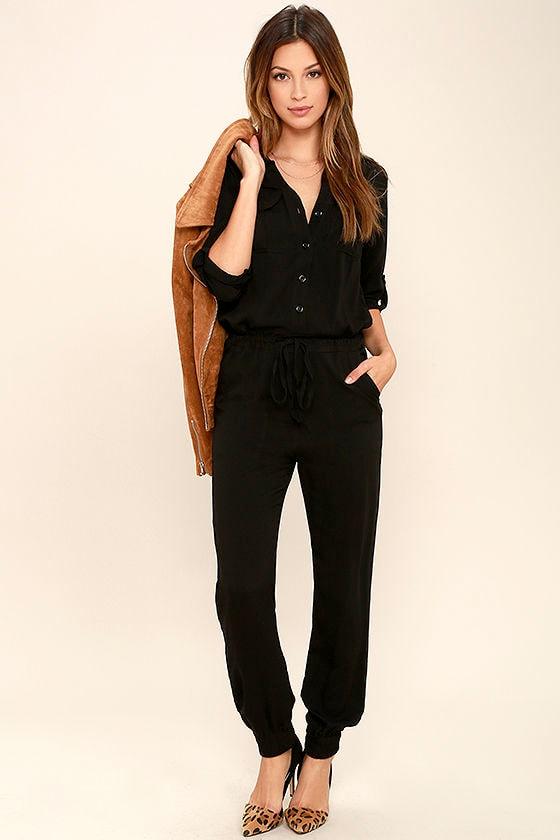1ada191d815 Cool Black Jumpsuit - Three-Quarter Sleeve Jumpsuit - Collared Jumpsuit -   54.00