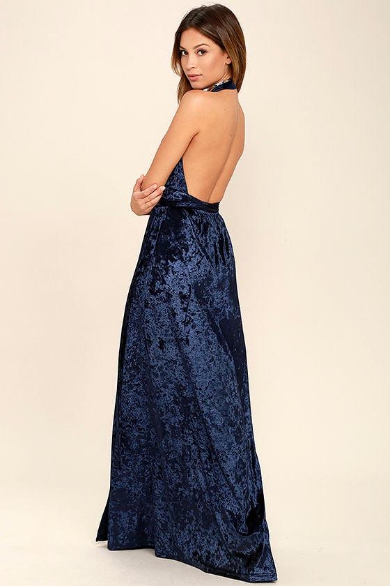 Stunning Navy Blue Maxi Dress - Velvet Maxi - Wrap Dress - Halter ...