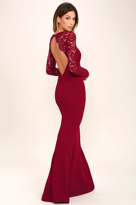 Whenever You Call Wine Red Lace Maxi Dress 1