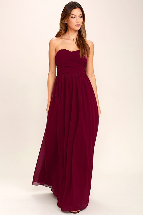 4633fa234dfa Burgundy Maxi Dress - Strapless Dress - Bridesmaid Dress - Gown -  84.00
