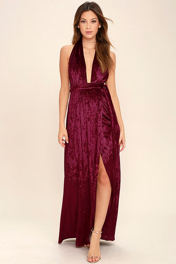 Stunning Burgundy Maxi Dress - Velvet Maxi - Wrap Dress - Halter ...
