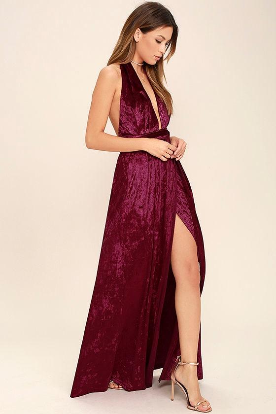 Stunning Burgundy Maxi Dress - Velvet Maxi - Wrap Dress - Halter ...