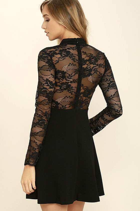 Lovely Black Lace Dress - Long Sleeve Lace Dress - Skater Dress ...