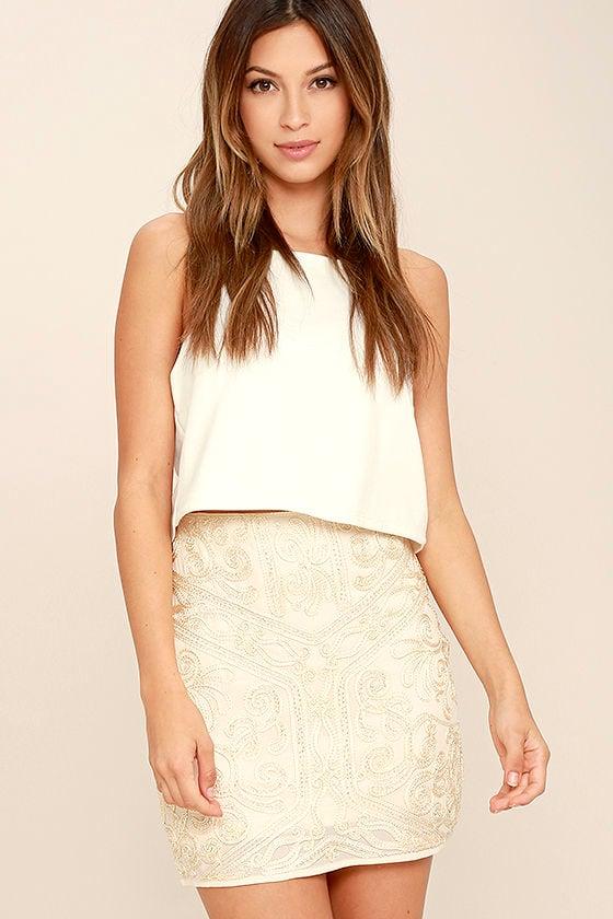 54011f0541 Lovely Cream Skirt - Beaded Skirt - Mini Skirt - Embroidered Skirt ...